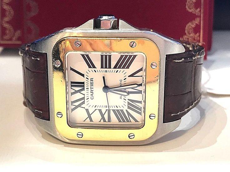CARTIER SANTOS 100 XL AUTOMATIC STEEL & YELLOW 18K. GOLD USED MEN WATCH 2004 #Cartier #ContemporaryDesign