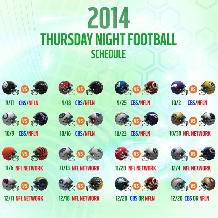 .@NFLonCBS + @nflnetwork = Thursday Night Football!  2014 TNF Schedule: http://on.nfl.com/1igJgtM pic.twitter.com/wztnPRdbqF