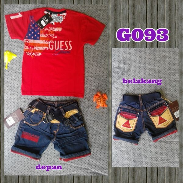 Guess flag baby jeans set (G093) Merah || size 2-3y || IDR 125.000