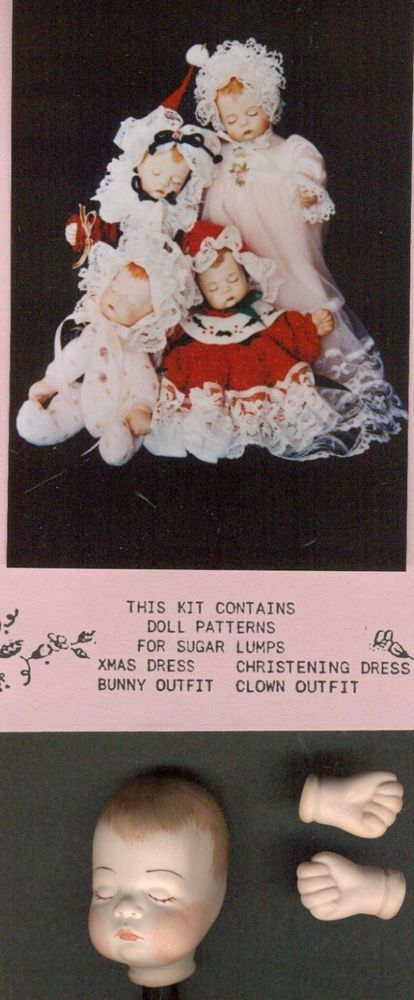 "7""VINTAGE PORCELAIN/BISQUE BABY DOLL CLOTH BODY&DRESS&HAT/CLOWN SUIT PATTERN/KIT in Dolls & Bears, Dolls, Doll Making & Repair 