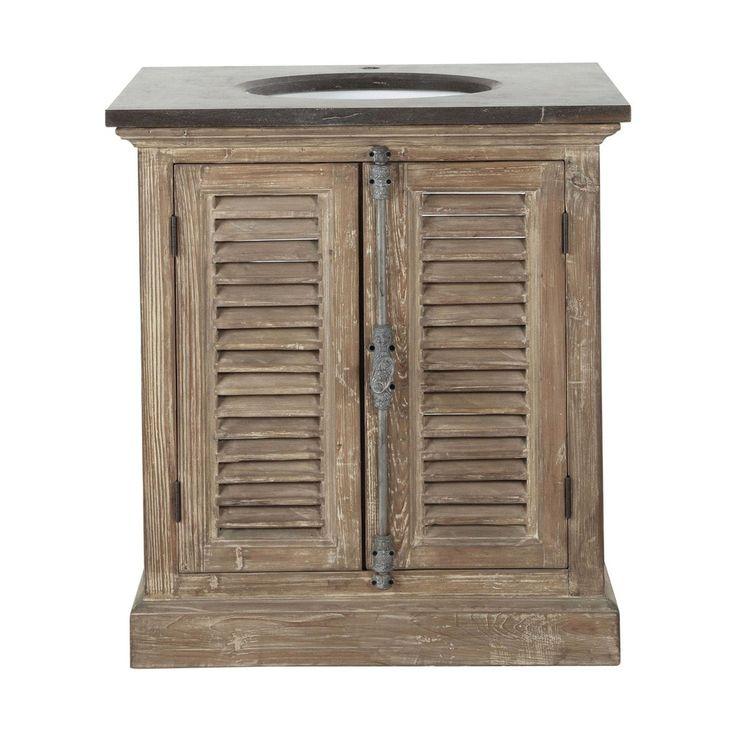 Mobile in legno riciclato e marmo per lavandino L 80 cm