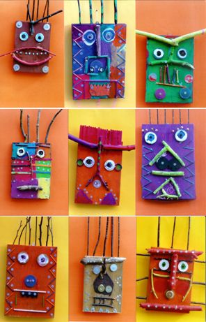 all of our preschoolers made box faces. We used recycled/repurposed materials and spray painted the box lids first. Had a lot a variety and a very cool display