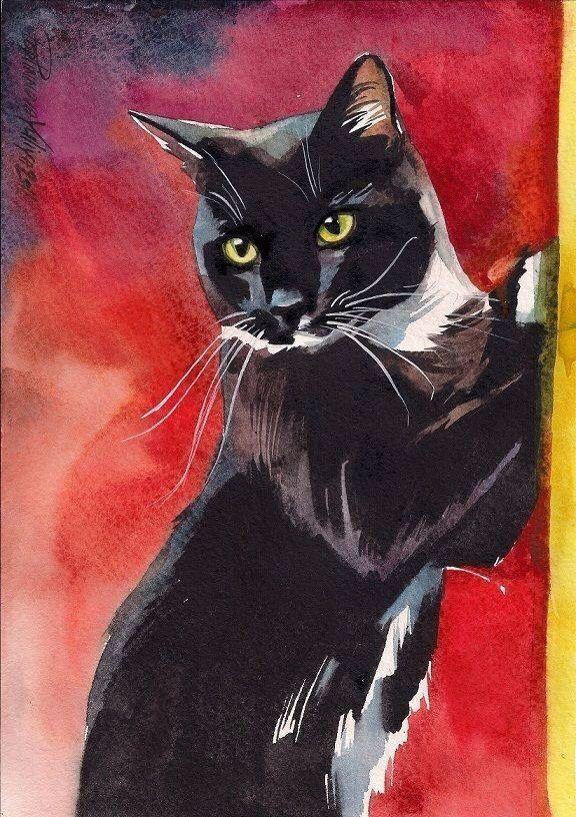 """""""Tuxedo Cat with Yellow Eyes"""" by Yuliya Podlinnova"""