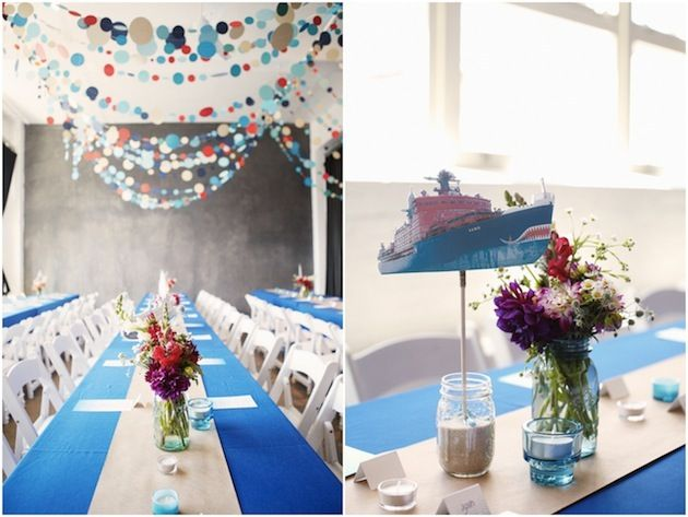 I love the polka dot garlands and the nautical colour palette + details at this quirky wedding!