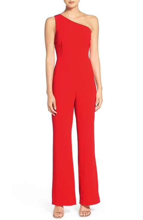 Greylin Laurel One-Shoulder Jumpsuit