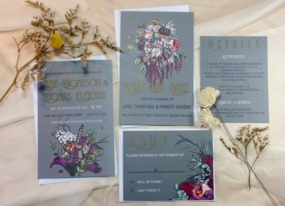 Victorian Flowers Invitation suite-Grey, floral wedding invitations, vintage invitation suite
