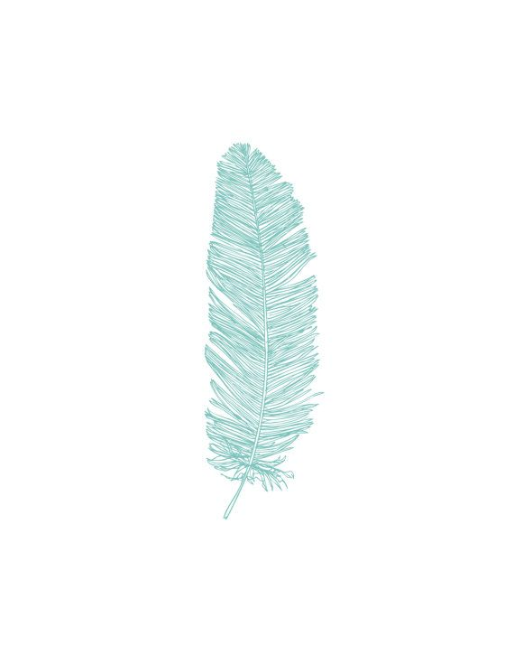 Blue Feather Print Turquoise Feather Art by MelindaWoodDesigns