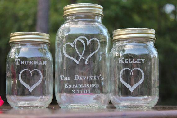 Mason Jar Sand Ceremony set, Wedding Ceremony, Personalized, Mason jars, 3 mason jars. $20.00, via Etsy.