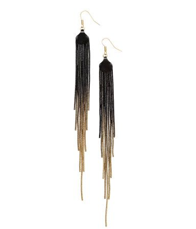 Long earrings with shaded metal pendants in black & gold. | H&M Accessories