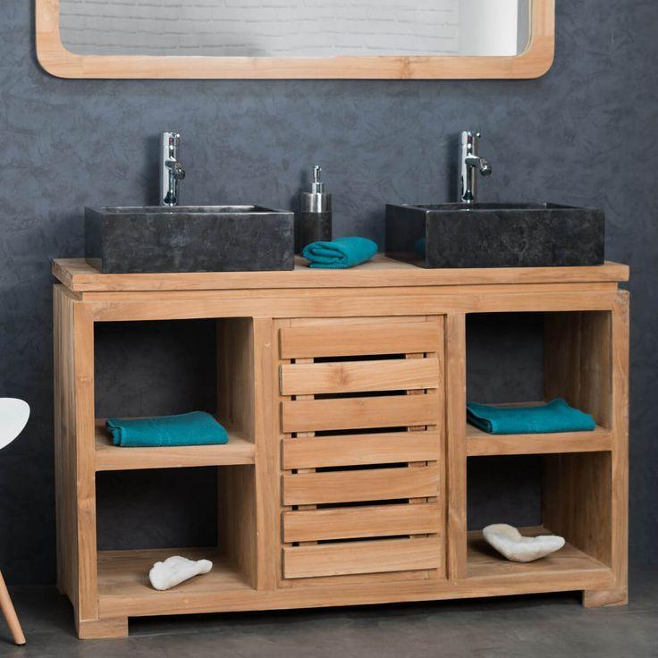 Pour créer une salle de bain à l'atmosphère zen et sereine laissez vous tenter par ce meuble en bois massif teck! Il donne à votre espace bain une dimension naturelle et une touche exotique à votre intérieur! Pratique ce meuble est muni de quatre niches et d'une porte ajourée, pour facilement organiser le rangement de vos affaires de toilette et serviettes. Longueur : 120 cm Hauteur : 74 cm Profondeur : 40 cm