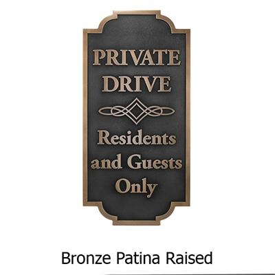 Bronze patina raised outdoor signage.