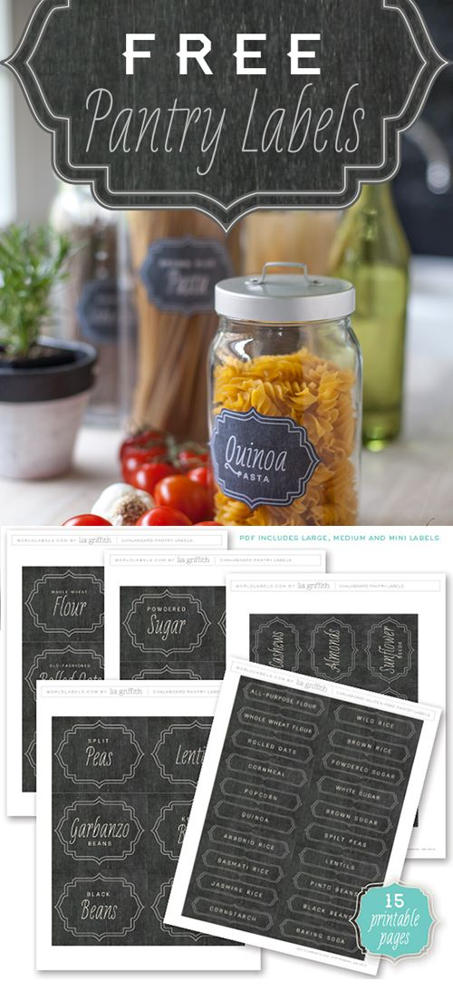 FREE Printable Chalkboard Pantry Organizing labels. 15 pages... Included is a set of matching Spice Jar Labels by liagriffith.com