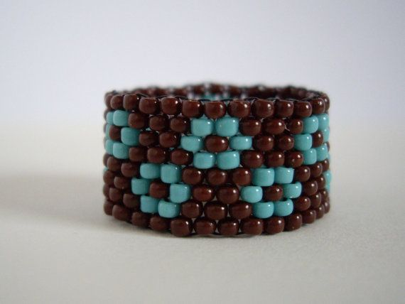 Peyote ring Turquoize and chocolate brown ring por MisakoBeads