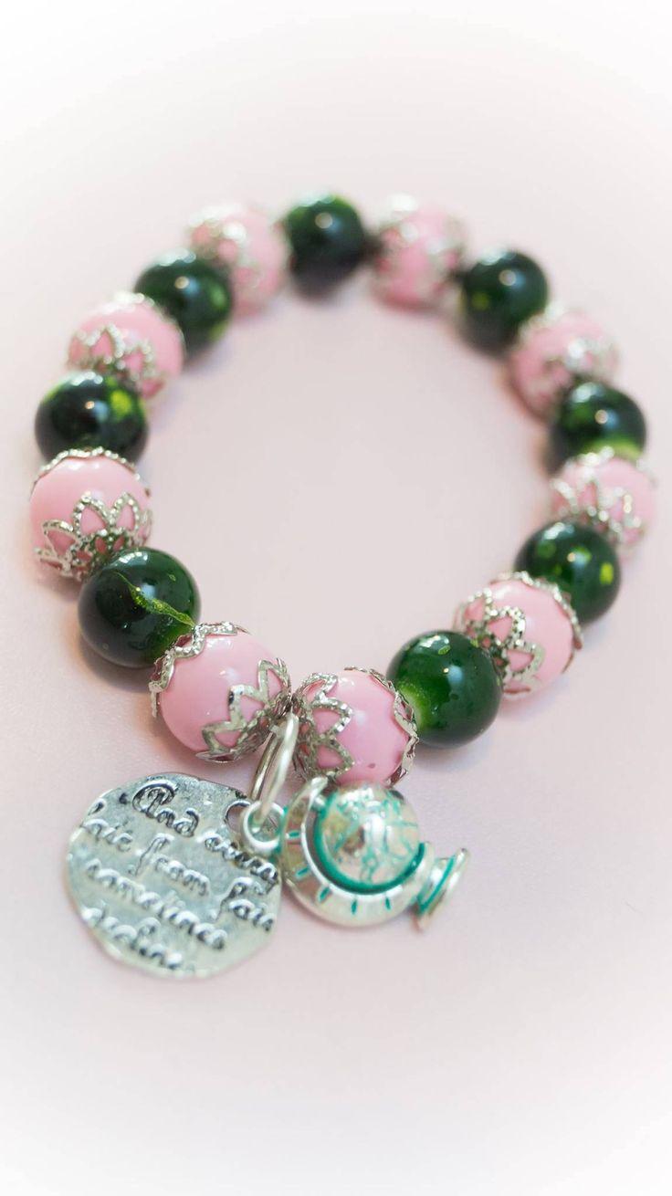 Excited to share the latest addition to my #etsy shop: Bracelet 12 http://etsy.me/2CGNotS #jewelry #bracelet #pink #green #no #women #womanbracelet #handmadebracelet #fashionbracelet
