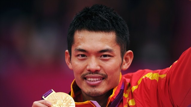 Lin Dan of China celebrates with his Gold medal after winning his men's Singles Badminton Gold Medal match against Chong Wei Lee of Malaysia on Day 9 of the London 2012 Olympic Games at Wembley Arena