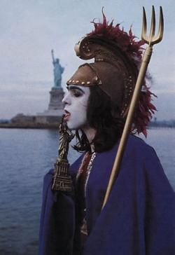 Peter Gabriel dressed up as Britannia during the Progressive rock years with Genesis