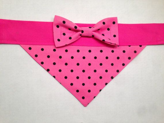 Dog Bandana Pink with Black Polka Dots with Bow by SpottedDogShop, $9.95