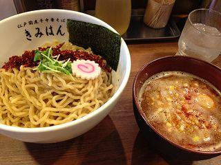 Bonito flakes spicy tsukemen (topping: boiled egg) from Kimihan @ Uguisudani