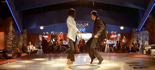 Mia Wallace (Uma Thurman) and Vincent Vega (John Travolta) cutting a rug in 'Pulp Fiction' (1994)