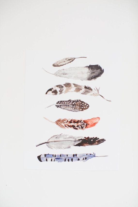 Aquarelle de plumes Art Print 11 x 14 par ShannonKirsten sur Etsy