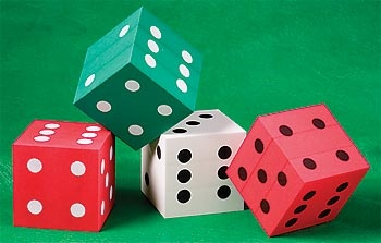 Foam Dice, Casino Party Decorations - Stumps Prom