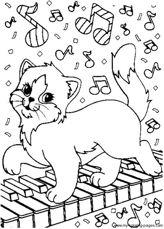 cat playing the piano coloring page