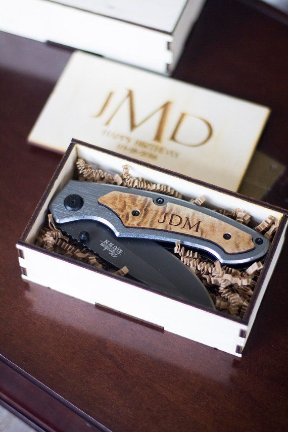 Personalized Engraved Knife/Box Cutter with Hand Made Personalized Wooden Gift Box! This is the Perfect Gift for Groomsmen, Father of the Bride, and the Groom. ** Must select gift box option for personalized gift box.  Processing time is currently 2 weeks. To order, please include the following in the Notes to Seller section during check-out.  1. Select Knife style in Options: See pic two for choices.  2. One, Two, or Three lines of text to be engraved onto the knife. See pic three for some…