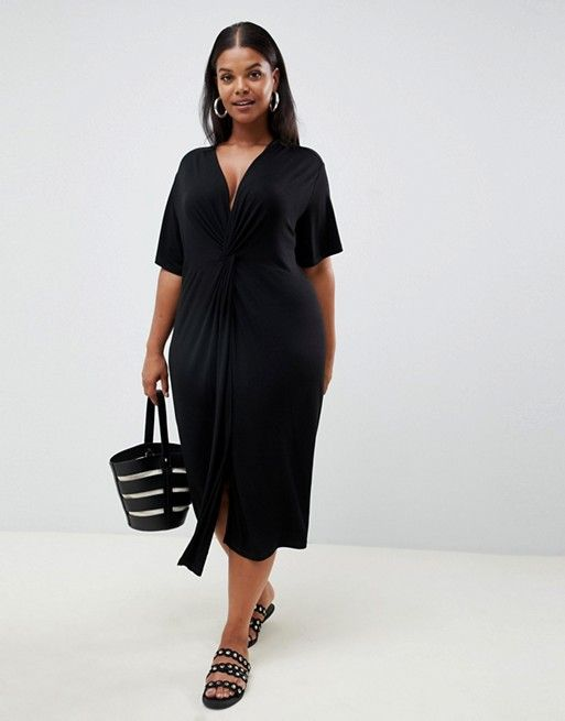 82f6cbeb4245 ASOS Curve | ASOS DESIGN Curve relaxed midi dress with knot front ...