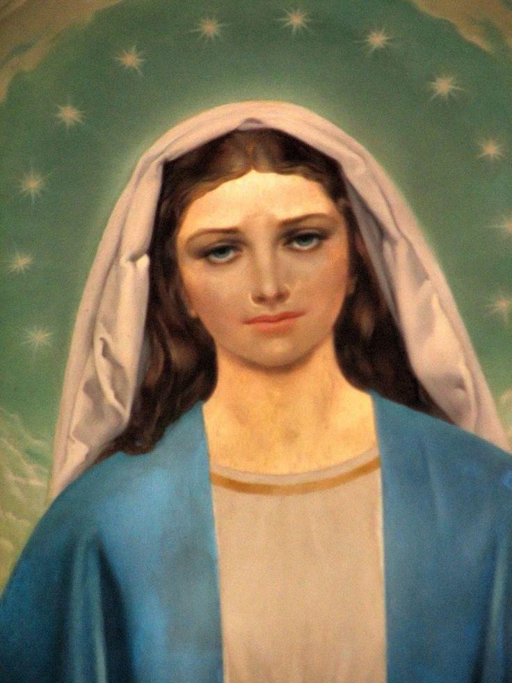 Chiesa del Sacro Volto di Via Sebenico Madonna Immacolata Tela ad olio del pittore Rino Ferrari (1964) Dettaglio.