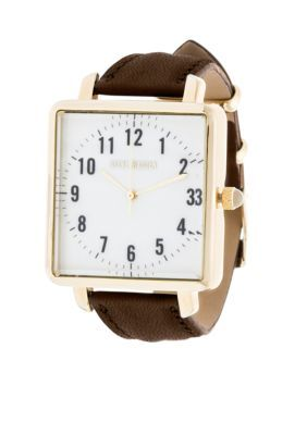 Steve Madden Women's Women's Gold-Tone Day To Day Brown Leather Watch - Brown - One Size