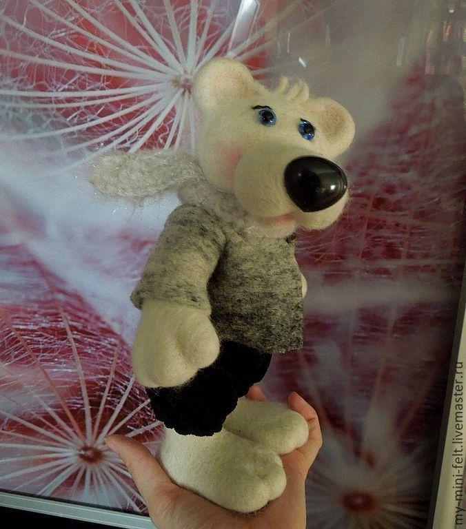 Купить Мишка Нордик (валяный) - белый, мишка, тедди, валяный, войлочный, валяный мишка