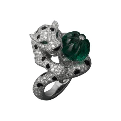 Panthère de Cartier, ring. Platinum 950‰ ring set with 1 melon-cut emerald, 2 pear-shaped emeralds, 39 onyx spots and onyx nose, and pavé-set with brilliant-cut diamonds. #MakeRoomfortheQueenBling