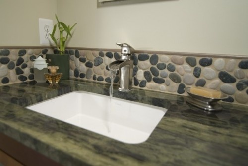 river rock backsplash for the home pinterest awesome close up