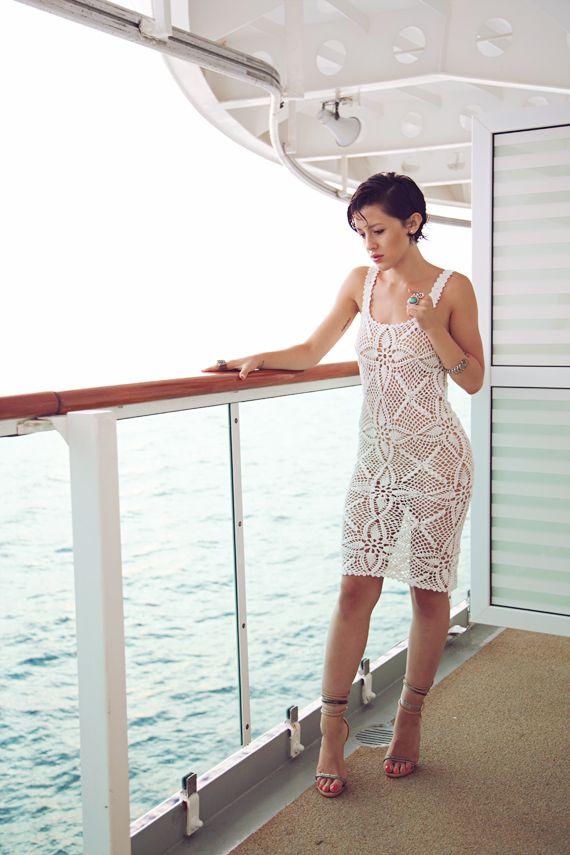 obsessed with this white crochet dress that Karla Deras of Karlas Closet has
