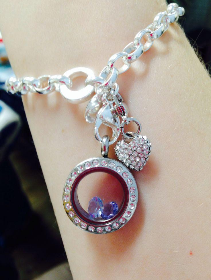 Origami Owl bracelet. Mini locket with birthstones and heart dangle.