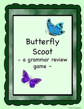 Grammar review Scoot game - 24 grammar question cards. Facts about butterflies make the grammar questions fun.$