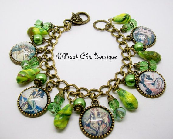 Mermaid Charm Bracelet by freakchicboutique on Etsy