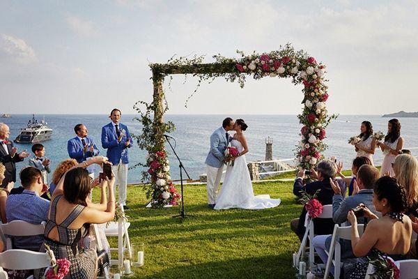 Colourful wedding arch | Luxury wedding in Greece, Mykonos