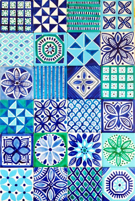 Moroccan Inspired Hand Painted Ceramic Tiles for Splashback or feature tiles