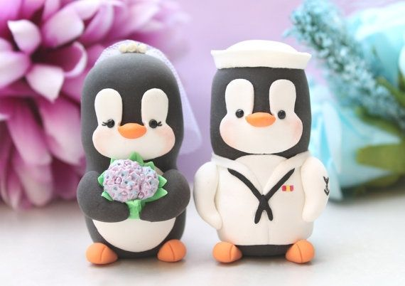 U.S. Navy Cake Decorations | Wedding cake toppers Military Penguin US NAVY love by PassionArte, $ ...