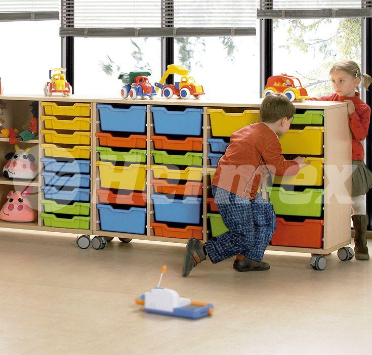 Mueble escolar bajo para cubetas de colores
