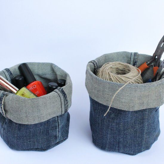 Upcycle your old denim jeans into these useful baskets, no sewing required.