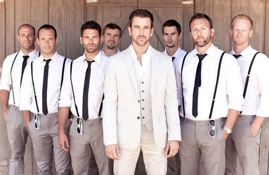 groom and groomsmen suits black and beige - Google Search