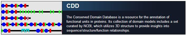 CDD The Conserved Domain Database is a resource for the annotation of functional units in proteins. Its collection of domain models includes a set curated by NCBI, which utilizes 3D structure to provide insights into sequence/structure/function relationships.