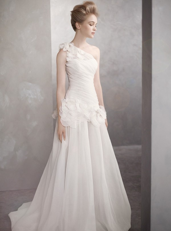 Unique One shoulder basket weave organza gown with dropped waist draped bodice and organza petals Train from waist Fully lined Dry clean only