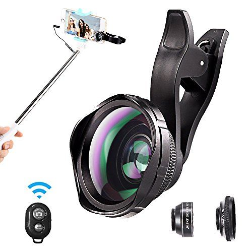 Cell Phone Camera Lens, ARORY 3 in 1 iPhone Camera Lens Kit with Selfie Stick, 0.6X Wide Angle Lens + 12X Macro Lens + 198° Fisheye Lens Set for iPhone 8/7/6/5, Samsung Smartphone With Remote Shutter  https://topcellulardeals.com/product/cell-phone-camera-lens-arory-3-in-1-iphone-camera-lens-kit-with-selfie-stick-0-6x-wide-angle-lens-12x-macro-lens-198-fisheye-lens-set-for-iphone-8765-samsung-smartphone-with-remote-shu/  PROFESSIONAL LENS: The lens shells are made of light e