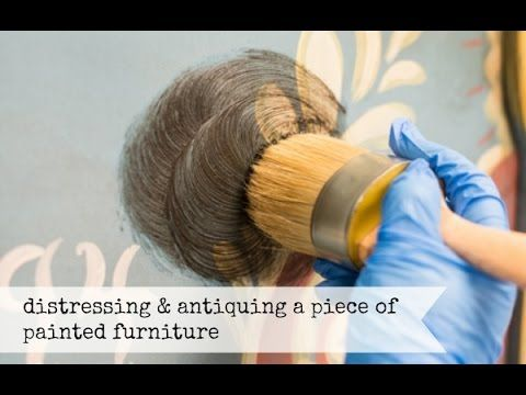 A video tutorial showing how to distress painted furniture and properly apply antiquing wax to create an authentic look   miss mustard seed