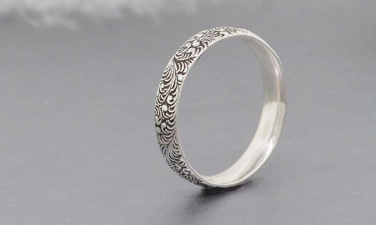 Sterling silver stacking ring with scroll foliage texture, unisex ring - pinned by pin4etsy.com