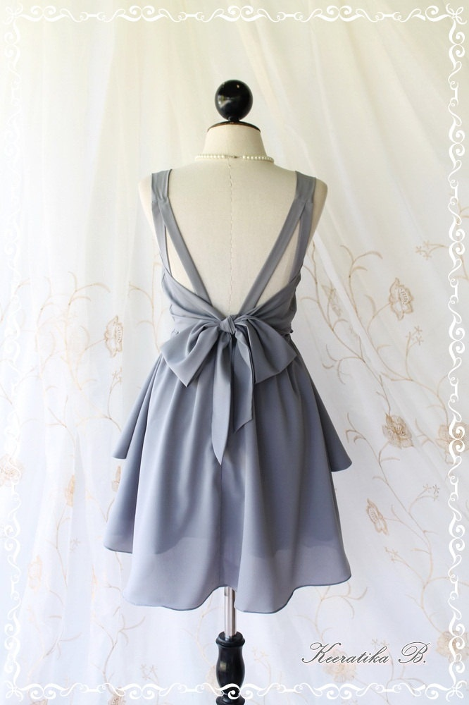 A Party – V Shape Dress – Cocktail Dress Wedding Bridesmaid Dress Party Prom Dress Backless Dress Homecoming Light Gray Dress