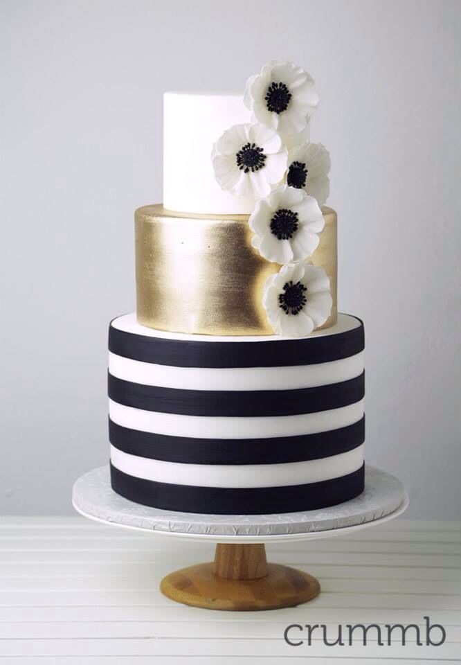 square black and white wedding cakes pictures%0A Black  white and gold wedding cake with the theme Great Gatsby meets Kate  Spade